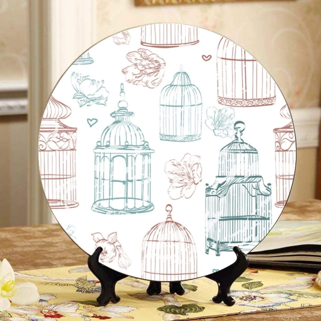 Lajro Oakland Mall Hanging Birdcage Ivy Knitted lowest price Plate Plates Stand Display Di