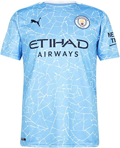 PUMA Manchester City Temporada 2020/21 - Home Shirt Replica SS with Sponsor Camiseta Primera Equipación Unisex Adulto