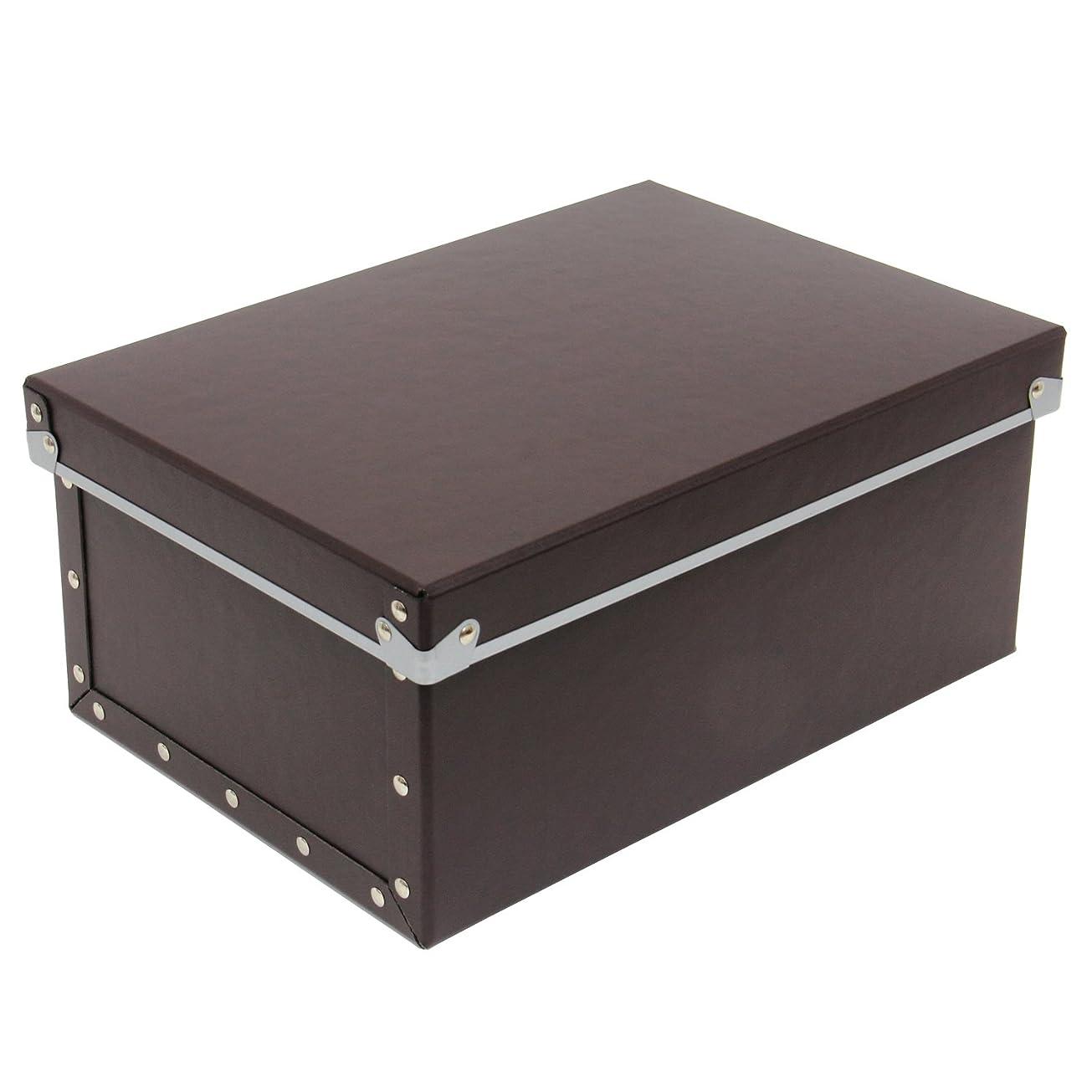 非難する想起混乱した安達紙器 収納ケース 硬質パルプ ボックス フタ式 (幅25.5×奥行36×高さ16cm) PBF-816 ブラウン
