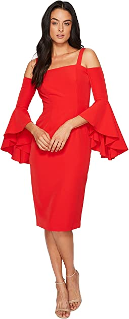 Maggy London - Dream Crepe Cold Shoulder Sheath Dress w/ Cascade Sleeve