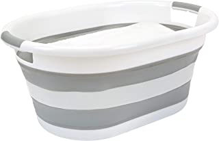 Simplify Collapsible Large Laundry Basket, Space Saver, Holds 2 Loads, Store Under The Bed or in a Closet, Good for Kids, Baby, Dorm and Adult, White/Grey