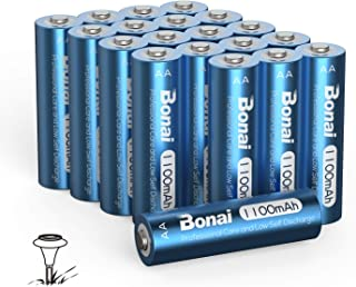 BONAI AA Rechargeable Batteries Solar Rechargeable NiMH AA Battery, 1.2v Precharged 1100mAh High Capacity for Solar Lights, Garden Lights, Solar Lamp Anti-Leak, Outdoor Durability (AA 20 Pack)