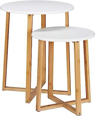 Relaxdays Tavolini da Salotto Rotondi, Set 2 Tavoli, H 48,5 & 60,5 cm, Design Moderno per Soggiorno, Naturale/Bianchi, Pannelli in MDF, bambù