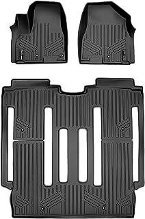 SMARTLINER Custom fit Floor mats 2 Row Liner Set Black for 2015-2021 Kia Sedona 8 Passenger Model only.