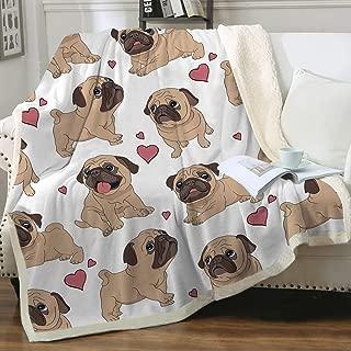 Sleepwish Pug Fleece Blanket Pet Blanket Dog Reversible Blanket Soft Sherpa Blanket Throw Blanket for Pug Lover (50