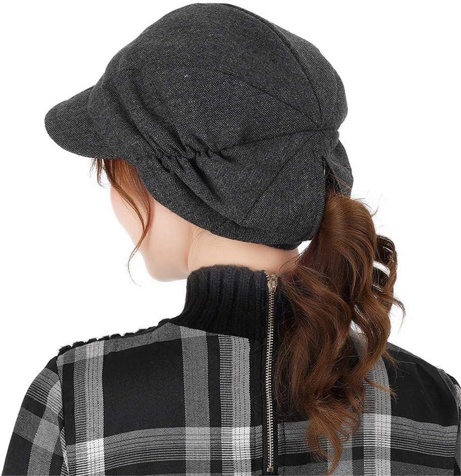 RangYR Women's Hat Autumn Winter Beret Fashion Small Eaves Elegant Horsetail Hat