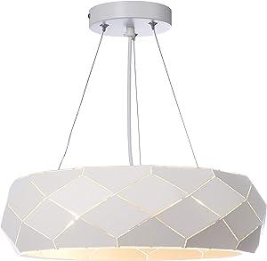 Lampada a sospensione Siena–Metallo Bianco Traforata–Design–Ø38x H14cm–E2740W
