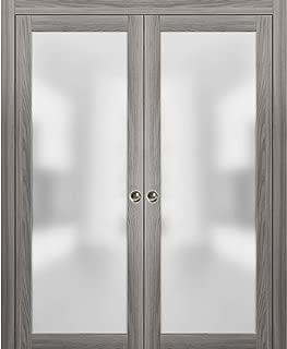 Modern Double Pocket Closet Glass Doors 72 x 80 | Planum 2102 Ginger Ash | Pocket Frame Trims Pulls Rail Hardware | Solid Wood Interior Sliding Doors Frosted Glass |