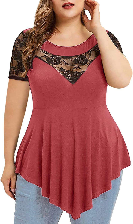 Fashion Womens Mesh Cutout Tops Plus Size Belted Surplice Peplum Blouse V-Neck T Shirt