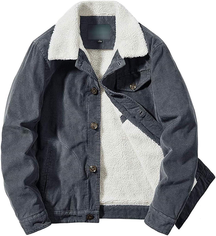 Haellun Men's Vintage Slim Fit Fleece Sherpa Lined Corduroy Denim Trucker Jacket