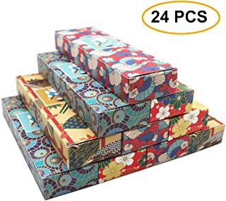 XDOBO Wedding Gift Boxes - 24 Pack Candy Favor Boxes, Premium Japanese Pattern Treat Box, Perfect for Guest Favors, Anniversary, Proposal and Engagement Party, Turquoise, Bridal Shower (4 Designs)