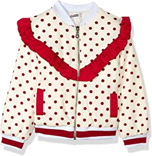 Giggles Dotted Side Pockets Striped Trims Long Sleeves Jacket for Girls
