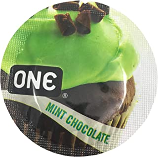 ONE Mint Chocolate Flavored Lubricated Latex Condoms with Silver Pocket/Travel Case (24)