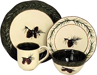 16 Piece Pine Cone Forest Rustic Country Lodge Ceramic Dinnerware