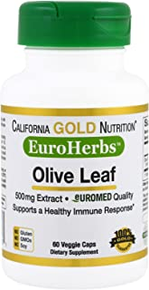 California Gold Nutrition Olive Leaf Extract EuroHerbs 500 mg 60 Veggie Caps, Milk-Free, Fish-Free, Gluten-Free, No Artifi...
