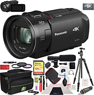 Panasonic HC-VX1K 4K Ultra HD 24x Optical Zoom Camcorder with 25mm Wide Leica Lens Bundle with 128GB Memory Card, Camera Bag, Microphone, Travel Tripod, 62mm Filter Kit and Cleaning Kit