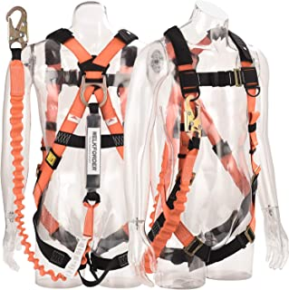 WELKFORDER 1D-Ring Industrial Fall Protection Safety Harness with 6-Foot Shock Absorber Stretchable Lanyard [Snap Hook End] | Permanent attached Kit | ANSI Complaint Personal Fall Arrest System(PFAS)