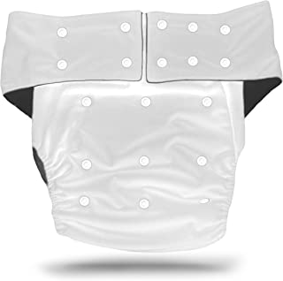 Continuon Reusable Adult Diapers for Urinary Incontinence with Washable Bamboo Charcoal Absorbent Pad for Overnight Leakproof Protection for Men and Women, One Size Fits All (White)