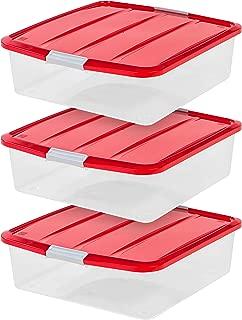 IRIS USA, Inc. BCB-SQ Wreath Storage Box, 3 Pack, Clear/Red