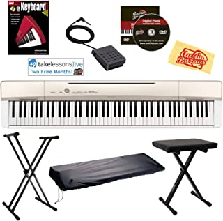 Casio Privia PX-160 Digital Piano - Champagne Gold Bundle with Adjustable Stand, Bench, Dust Cover, Sustain Pedal, Online Lessons, Instructional Book, Austin Bazaar Instructional DVD, and Polishing Cloth