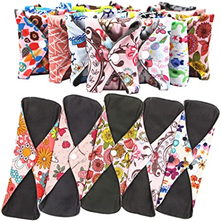 Set of 7 100/% Cotton Cloth Menstrual Pads 9 inch 10 inch 12.5 inch Small Daisy