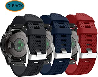 Compatible with Garmin Fenix 5S Plus Bands, Quickfit Silicone Replacement Watch Band Straps Accessory Band Wristbands Bracelet for Fenix 5S, Not Fit Fenix 5 5X (Black Navy Red)