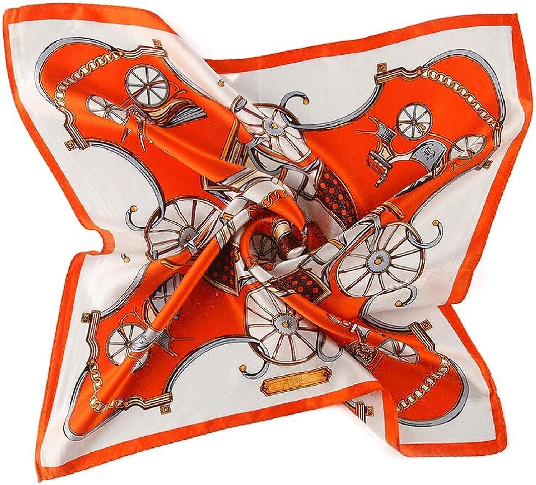 Scarves & Wraps Silk Scarf Lady, Silk Square Scarf Scarves & Wraps (color   orange, Size   55  55cm)