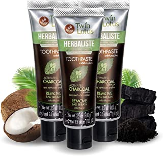 TWIN LOTUS ACTIVE CHARCOAL TOOTHPASTE HERBAL TRIPLE ACTION 100 G. PACK OF 3