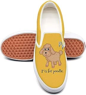 LLOOWWXXP Cute PIS for Poodle Dog Love Pattern Women's Canvas Classic Slip-On Skate Shoe
