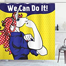 Ambesonne Unicorn Shower Curtain, Feminist Unicorn Famous Gesture on Polka Dots Setting Strength Humor Image Artwork, Cloth Fabric Bathroom Decor Set with Hooks, 75 Long, Navy Yellow