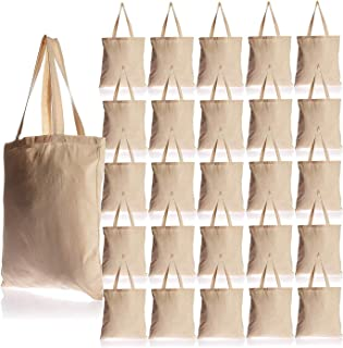 25 Pack Bulk Cotton Canvas Tote Bags Reusable Grocery Shopping Blank Tote Bags in Bulk Blank Art Craft Supply Book Print Bulk Lot School Church Party Blank Goods Bags Wholesale Tote Bags (Natural)