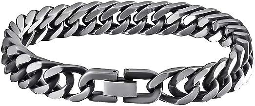 Coollooda stainless steel Jewelry Silver Bracelet Men's bracelet 8 Word Buckle