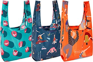 Yanzee Reusable Grocery Shopping Bags Foldable Washable Dog, Set of 3, Yoga Gym Bag with Boston Terrier, Packable Shopping...