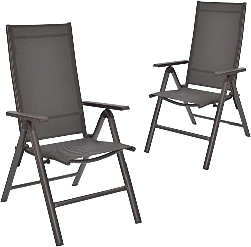 popular Giantex Set of 2 Patio sale Chairs, Folding Lawn Chairs, 2 Pack Outdoor Sling Chairs 7 Level Adjustable Backrest, Aluminum Frame, Patio outlet online sale Dining Chairs for Camping Pool Beach Yard No Assembly, Gray online