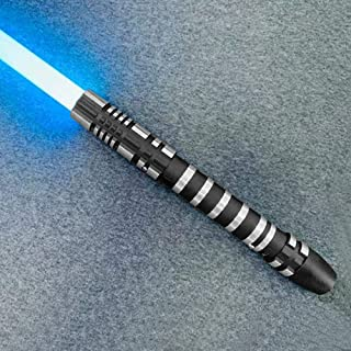 YDD GENIUS Star Wars Lightsaber Metal Aluminum Hilt, Ghost Premium Force FX RGB Led 16 Colors Changing Black Series Light Saber for Adults and Kids, Support Real Heavy Dueling