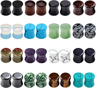 Acrylic Wood Mixed Stone Plugs 16 Pairs/32 Pieces Set Ear Plugs Ear Tunnels Ear Gauges Double Flared Ear Expander Stretcher Set