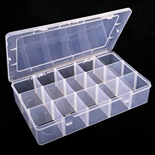 SGHUO 1 Pack 15 Grids Clear Plastic Washi Tape Storage Box Organizer Case Jewelry and Crafts Compartment Container with Ad...