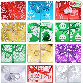 36 PCs Christmas Fancy Gift Foil Decorative Wrapped Envelope Card Boxes with Ribbon Holder (4.5