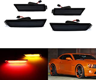 iJDMTOY Smoked Lens Amber/Red Full Side Marker Lights For 10-15 Chevy Camaro, (Front: Amber, Rear: Red) Powered by Total of 96 SMD LED Diodes