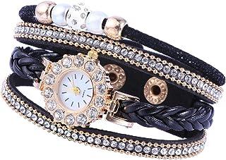 Weave Watch Personality Bracelet Diamond- studded Pearl Multi- layer Watch Casual Wrist Watch for Women Lovers Girlfriend
