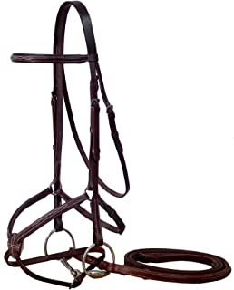 Paris Tack Figure 8 Padded Bridle with Rubber Reins, Oversize, Havana Brown