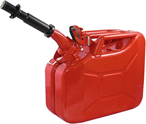Wavian USA JC0010RVS Authentic NATO Jerry Fuel Can and Spout System Red (10 Litre): image