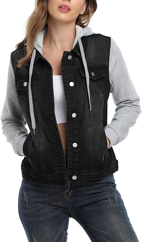 MISS MOLY Women's Hooded Jean Jacket Washed Long Sleeve Denim Jacket w 2 Pockets