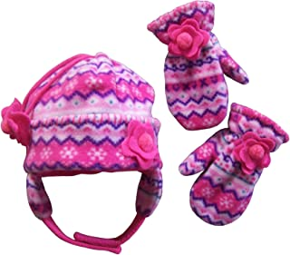 Little Girls and Baby Colorful Prints Fleece Hat Mittens Winter Set