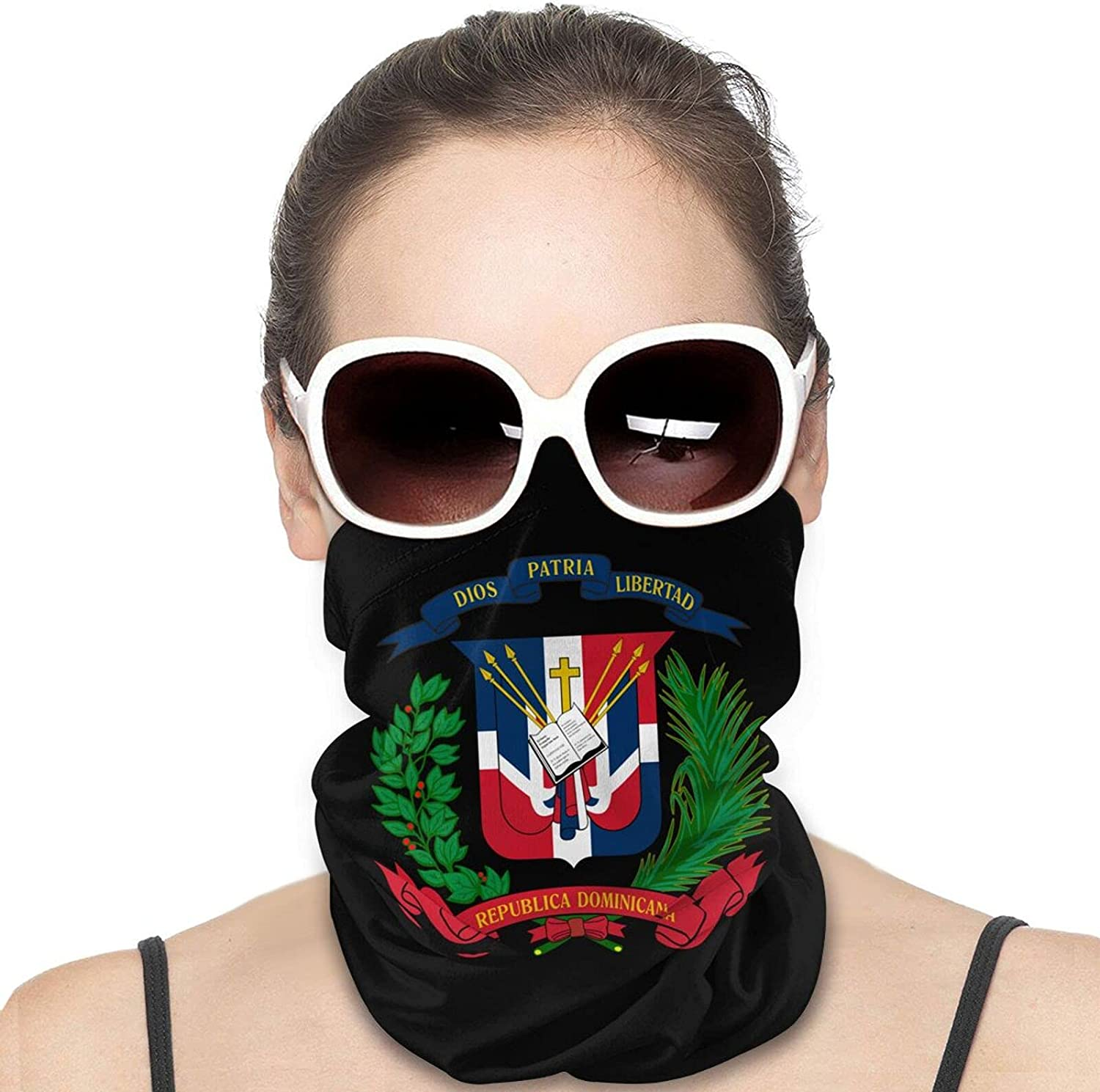 Dominican Flag Round Neck Gaiter Bandnas Face Cover Uv Protection Prevent bask in Ice Scarf Headbands Perfect for Motorcycle Cycling Running Festival Raves Outdoors