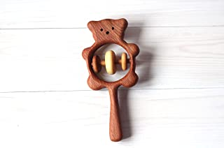 Wooden Bear rattle, Wooden teether, Teething toy, Wooden Rattle,Rattle for newborn, Rattle for baby,