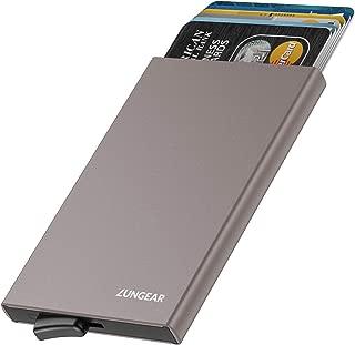 LUNGEAR Tarjetero para Tarjeta de Crédito de Aluminio RFID Bloqueo,Slim Metalico Cartera con Automática Pop Up Design & 4-6 Ranuras para Tarjetas para Mujer y Hombre - Nickel Gris