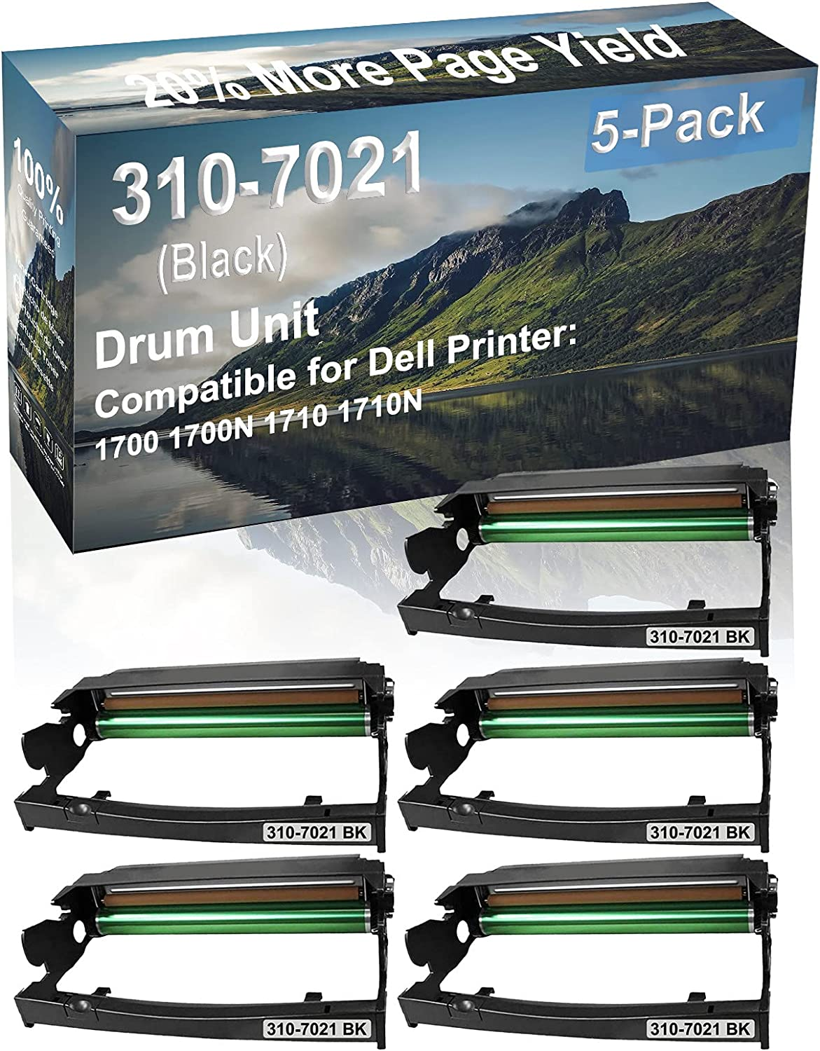 5-Pack Compatible Drum Unit (Black) Replacement for Dell 310-7021 Drum Kit use for Dell 1700 1700N 1710 1710N Printer