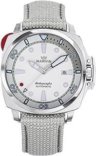 スイス製 Marvin 機械的ムーブメント ステンレスケース ホワイト文字盤 灰色ナイロン腕時計バンド アウトドアスポーツダイビング時計
