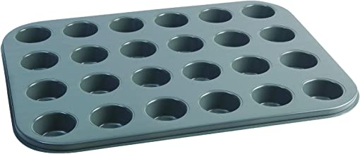 Jamie Oliver Bakeware Range Non-Stick Mini Muffin Tray with 24 Holes, Carbon Steel/Harbour Blue